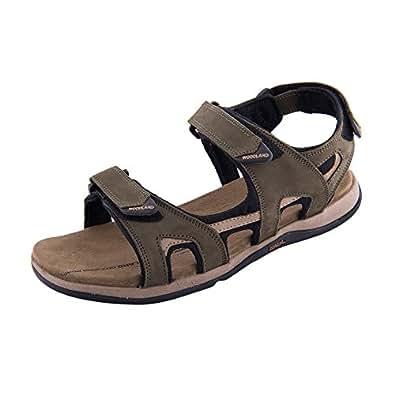 Woodland Men's Nubuk Olive Green Leather Sandals (GD2183116OLIVEGRN) (6 UK)
