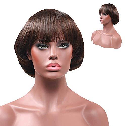 Perruque Noire Mode Synthétique Tête de Champignon BOB Perruques Naturelles Noir Naturelle Courte 15CM Ursing Femme Ondulé (B)