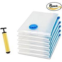 6 Piezas Cherbell Bolsas de almacenaje al vacío Bolsas ahorradoras de espacio para ropa, edredones , mantas & almohadas (3 grandes (100x70cm) + 3 Medianas (70x50cm))