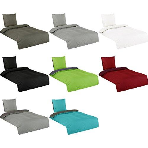 Basatex Microfaser Uni und Uni-Wende Bettwäsche in Allen Größen Viele Farben