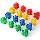 Coogam Giant Dadi e Bulloni Costruzione Impostato Giocattoli Montessori Terapia Occupazionale Strumenti di Abbinamento per i più Piccoli Baby - capacità Motorie Autismo Giocattolo per Bambini