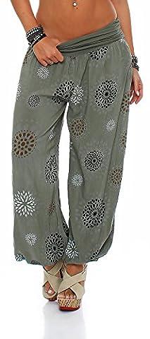 Damen Pumphose Pluderhose Harem-Stil Sommerhose all over Print Freizeithose Aladinhose Hose One Size (Einheitsgröße: Gr. 36-42, Armee)