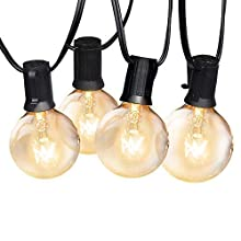 Yuusei Outdoor String Lights, G40 50FT 15M Waterproof Garden String Bulb Lights Mains Powered Globe Festoon String Light with 25+2 Bulb Clear Bulbs for Patio, Backyard, Party, Weeding, Xmas
