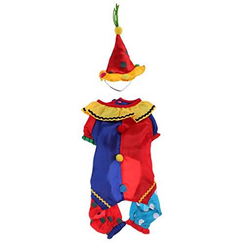 Fenteer Welpe, Hund, Katze Mantel Kleidung Mit Hut, Clown Halloween Costume Christmas Dogs (Katze Im Hut Dog Kostüm)
