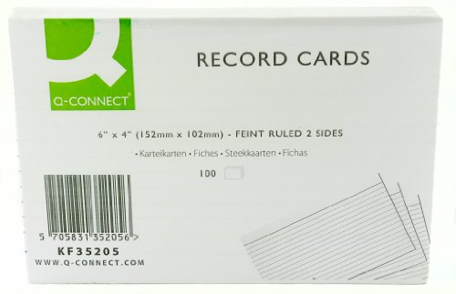 Q Connect 6x4 Inches Ruled Feint Record Card - White (Pack of 100) Test