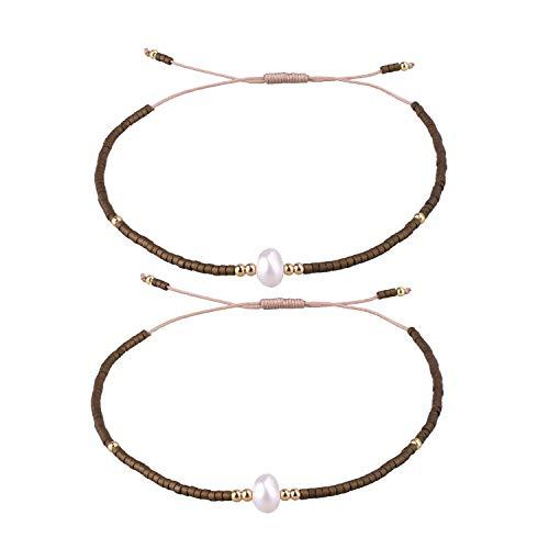 KELITCH 2 Stücke Freundschaft Armbänder Neue Samen Perlen Woven Liebhaber Armbänder Handgemachte Strang Armreifen Geschenke (Kaffee 01Mt) -