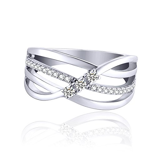 JO WISDOM Damen ring breit silber 925 mit AAA Zirkonia swarovski Verlobungsring (65 (20.7))