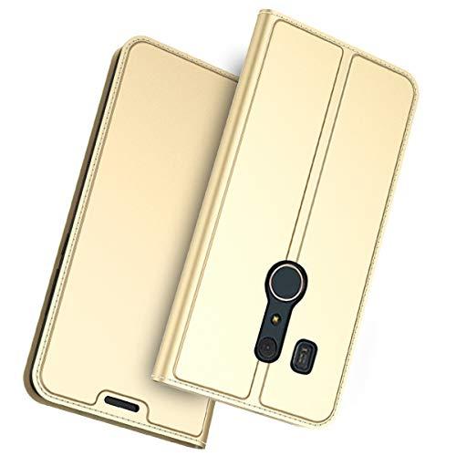 für Fujitsu Arrows Be3 F-02L Hülle, futypei Slim Leder Flip Case [Stoßfest] [Kartensteckplatz] Magnetisch Ledertasche Handyhülle Schutzhülle Tasche Brieftasche Etui für Fujitsu Arrows Be3 F-02L Golden