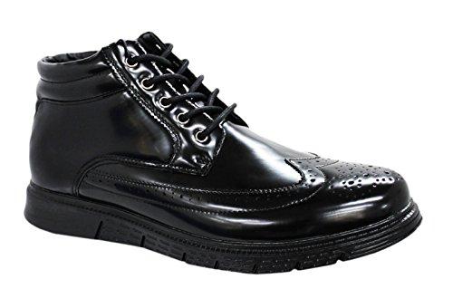 Scarpe Sneakers uomo nero vernice stringhe eleganti casual calzature numero