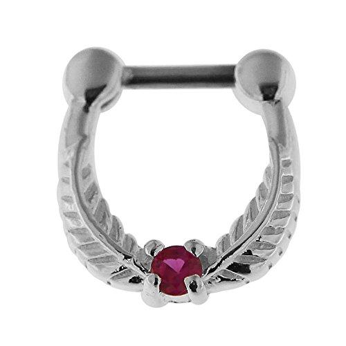 Feuille avec CZ rond en pierre 16 Gauge Clicker Septum nez anneau Septum bijoux Rouge
