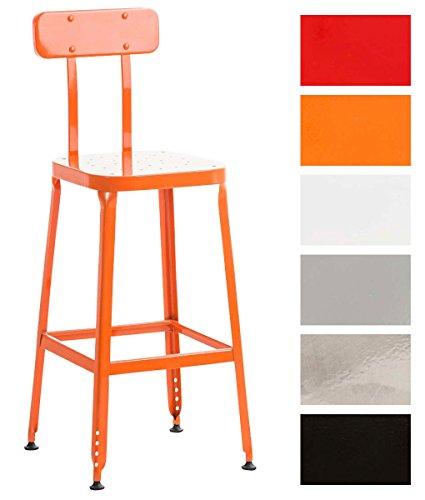 CLP Tabouret de Comptoir EASTON en Métal   Chaise Haute de Style Industriel avec Dossier et Repose-Pieds   Tabouret de Bar avec la Hauteur des Pieds Ajustables   Chaise de Bar Design Retro Multi-usage orange