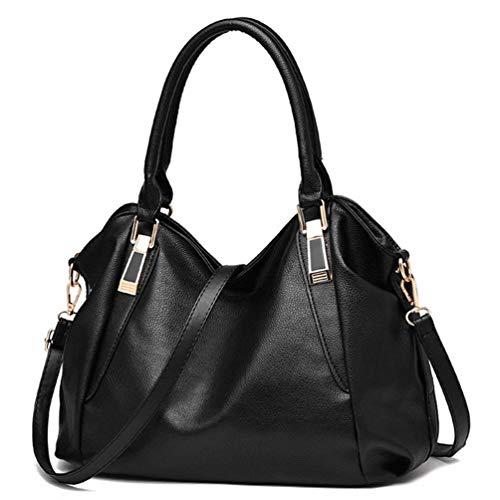 Damen Top Handle Plain Handtaschen Große Kapazität PU Leder Zip Closure Umhängetasche Tragetaschen Crossbody Umhängetasche Schwarz -