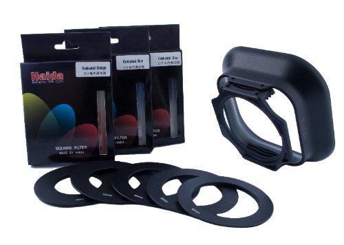 Haida Einschub Verlaufsfilter Set I (Grau, Blau, Orange) in der Größe: 83mm x 95mm - Inkl. Halter, Sonnenblende und Metall Anschlussadapter in 49mm, 52mm, 55mm, 58mm, 62mm