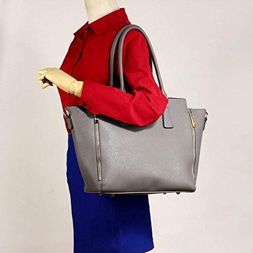 Meine Damen Umhängetaschen Frauen Große Designer Handtaschentoteschulterkunstleder Modische Taschen (A - Schwarz) A - Grau