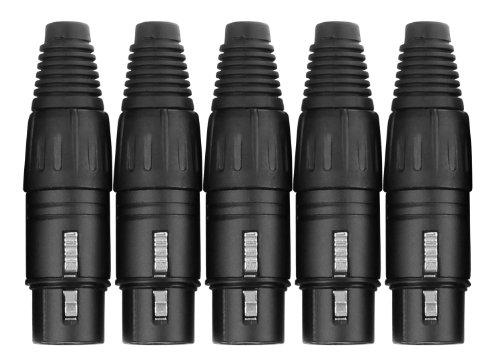 Pronomic Steckerset XLR-Female 5-Stück (zur Kabelkonfektionierung, Montage, Hochwertige Spannzangen-Zugentlastung, stabiles Druckguss-Gehäuse) schwarz
