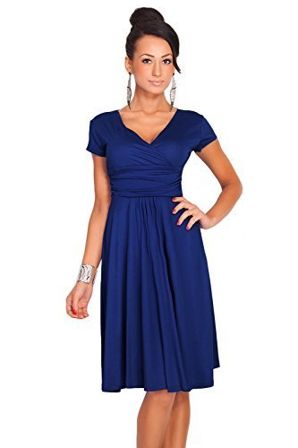 Futuro Fashion Femmes Elegant à manches courtes col V Genou Longueur Robe Viscose Avec Coton 8416 Bleu Marine