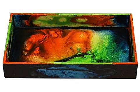 Prix spécial–Plateau Décoratif pour les tables de Ottoman plats de service plateau de service avec poignées en bois pour thé café vin rectangulaire plateau de service multicolore pour cuisine, table de chevet, Meuble Plateau
