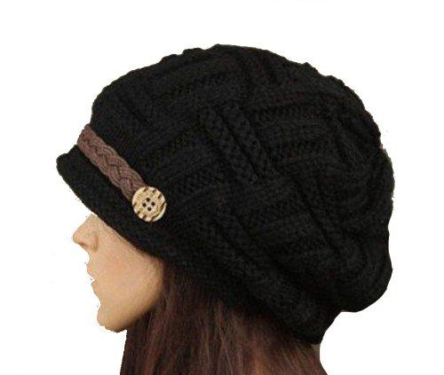 Damen Mütze Beanie, gehäkelt, handgefertigt, Baumwolle, Schwarz