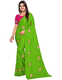 High Glitz Fashion Women's Green Color Hathi Embroidery Work Paper Silk Saree With Blouse Piece