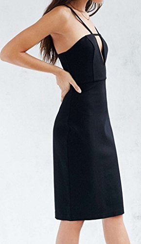 Bigood Robe de Soirée Femme Sexy Col V Dos Nu pour Mariage Cocktail Moulante Mode Noir