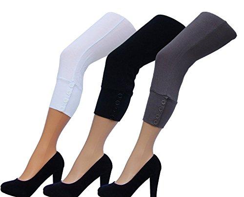 Damen Capri Leggings mit Knopfleiste , 95 % Viskose , 5% Elathan in Sand, Schwarz oder Weiss Schlamm