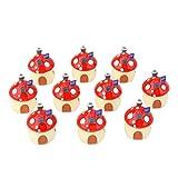 Generic 10x Miniature Resin Mushroom Houses Micro Landscape Craft DIY Decor Multicolor XS/S/M - red, M