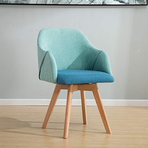 CHANG XU DONG SHOP Moderne Accent Stühle mit den Armen, Stoff Esszimmerstuhl Balkon Freizeit gepolstertes Sofa Stuhl Holzbeine for Wohnzimmer Freizeit Stühle for Schlafzimmer (Color : Blue) -