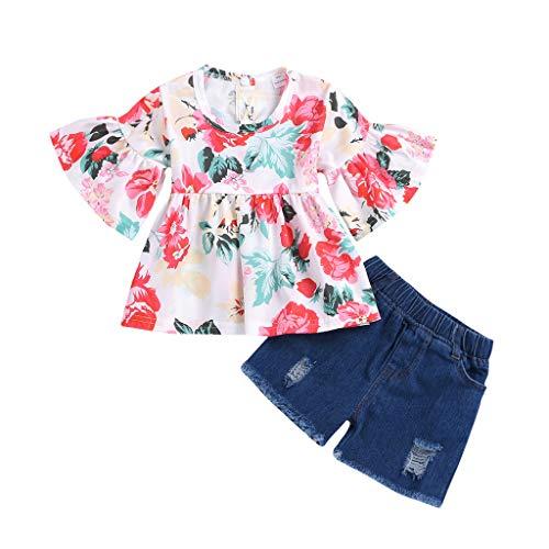 IZHH Kinder Baby GirlsFloral Print Outfit Set,Kinder Kostüm Kleinkind Kids Zweiteiler Kurzarm Rüschen Chiffon Top+Einfarbig Shorts Geraffte Floral Tops Lässige ()
