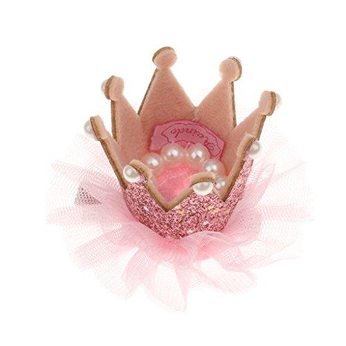 Homyl Prinzessin Krone Mädchen Haarspangen Haarklammern Haarclips mit Pelren Tüll Krone Blumenmädchen Geburtstagsparty Tiara - Lila