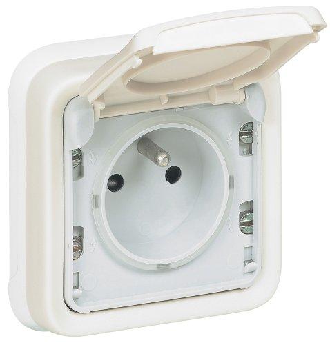 Legrand LEG69987 Prise de courant avec terre avec volet de protection à encastrer Blanc Plexo