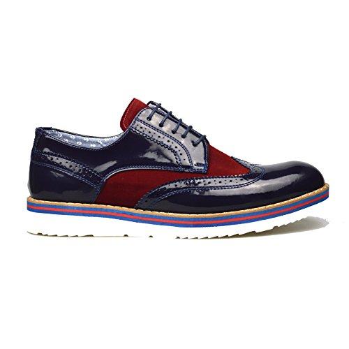 ClassyDude , chaussures compensées mixte adulte femme homme garçon fille Blue/Burgundy
