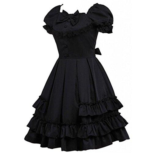 partiss femmes coton avec couches multiples Lolita Robe Noir - Noir