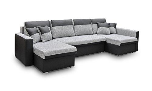 mb-moebel große Ecksofa Sofa Eckcouch Couch mit Schlaffunktion und Drei Bettkasten Ottomane U-Form Schlafsofa Bettsofa - Berlin U (Ecksofa Rechts, Schwarz)