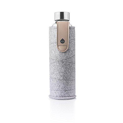 MyEqua Glasflasche mit Filzhülle Mismatch Sand Sky 750 ml - Trinkflasche aus Glas mit Schutzhülle 0,75 l - Sportflasche mit Cover - Designer Trinkflasche für unterwegs