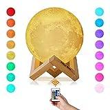 Albrillo RGB LED Mond Lampe - 15cm 3D Mondlicht mit Remote & Touch Control, 16 Lichtfarben und dimmbar Nachtlicht, USB Wiederaufladbar als Deko und Geschenke, 12.5um Oberflächengenauigkeit