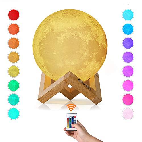 Albrillo Lámpara de Luna 3D - RGB Luz Nocturna LED Lámpara de Lunar 15cm Regulable con 16 Colores, Control Remoto o Táctil e USB Recargable, como Regalo o Decoracion