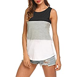 T-Shirt Damen, Sundau Frauen Kurzarm Dreifach Farbe Block Streifen T-Shirt Casual Bluse tshirt 2018 Frühling Sommer Herbst Gestreift Patchwork (M, Schwarz (Ärmellos))