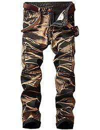TT Global Men s Slim Fit Ripped Jeans with Zipper Decoration Denim Trouser 3da42c7599