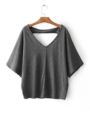 Choies Damen T Shirt Sommer Oberteile V-Ausschnitt Cut-outs Rückenfrei Basic Sport Oversize Bluse Tops Shirts Dunkelgrau