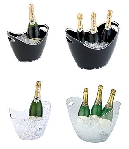 Wein-/ Sektkühler aus MS Kunststoff, klar oder schwarz, stapelbar & spülmaschinengeeignet, 2 seitliche Eingriffe, zwei Größen / 35x27x25,5 cm oder 27x20x21 cm | SUN (schwarz, A4 - Inhalt: 3 ltr.) -