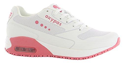Oxypas Neu Sport, Berufsschuh Ela, Antistatischer (ESD) Leder Sneaker für Damen (38, Weiß-Fuchsia)