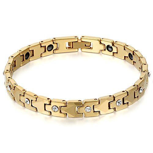 JewelryWe Schmuck Damen Armband, Magnet Therapie Kugel Perle Perlen Wolframcarbid Wolfram Armreif Link Handgelenk Strass Gold (Therapie Strass)
