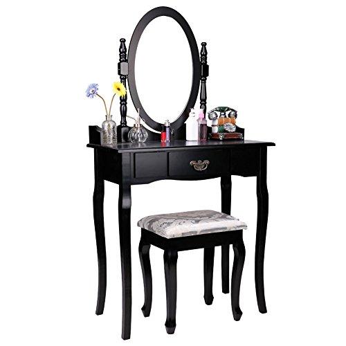 CCLIFE Schminktisch Frisiertisch mit Spiegel Hocker Set Weiß Schwarz, Farbe:Schwarz