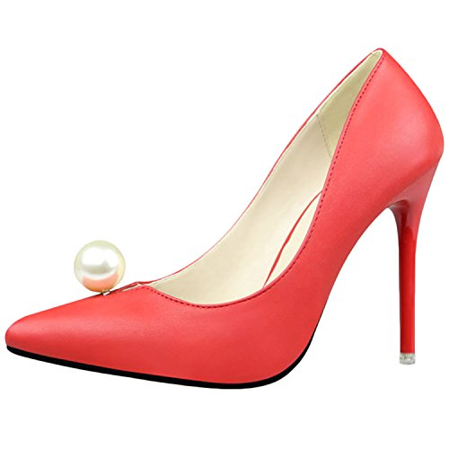 Oasap Women's Pointed Toe Pearls Low Cut Slip-on Stiletto Pumps Red