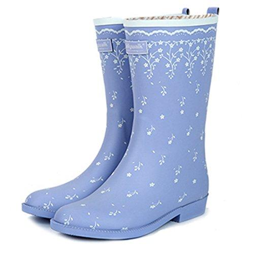 Goma Antideslizante de PVC con Zapatos de Agua con Estampado de Plumas Florales para Botas de Lluvia Impermeables para niñas de Mujeres.Zapatos de Moda (Color : Púrpura, Size : 39(245mm)