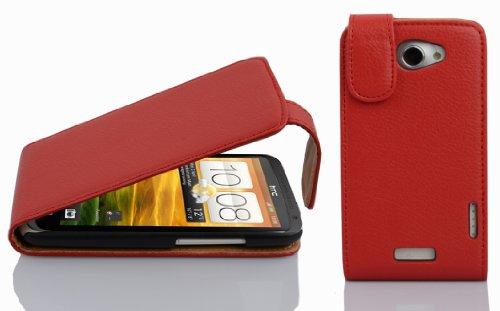 Cadorabo - Flip Style Hülle für HTC ONE X und ONE X+ - Case Cover Schutzhülle Etui Tasche in INFERNO-ROT