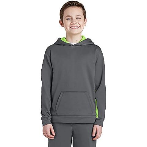 Boy's Sport-Tek-Felpa con cappuccio, in pile, Colorblock
