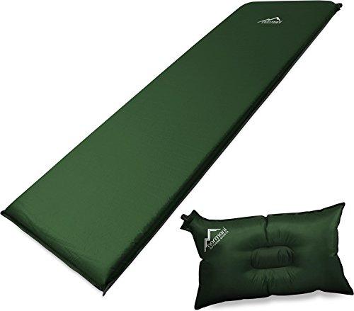 normani Selbstaufblasbare Luftmatratze inkl. Kissen zum Outdoor Camping Farbe Oliv Größe 193 x 61 x 5 cm