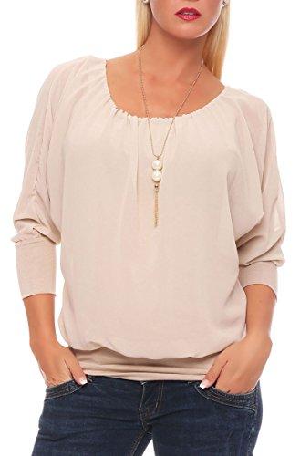 Malito Damen Bluse mit passender Kette | Tunika mit ¾ Armen | Blusenshirt mit breitem Bund | Elegant - Shirt 1133 (beige)