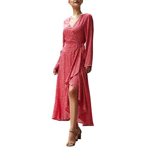 Crylee Damen Kleid Bohemian Floral Kleid Langarm Herbst Explosion Kleid Boho Lange Kleider V-Ausschnitt Sommerkleider Kurzarm Wickelkleid Maxikleid Strandkleid mit Schlitz -